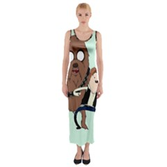 Space Adventure! Mans Best Friend Fitted Maxi Dress