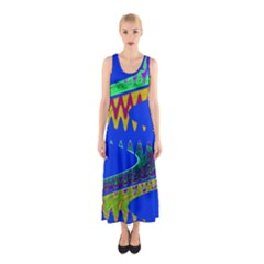 Colorful Wave Blue Abstract Sleeveless Maxi Dress
