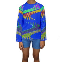 Colorful Wave Blue Abstract Kid s Long Sleeve Swimwear