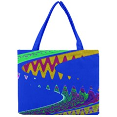 Colorful Wave Blue Abstract Mini Tote Bag