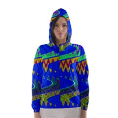 Colorful Wave Blue Abstract Hooded Wind Breaker (Women)