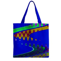 Colorful Wave Blue Abstract Zipper Grocery Tote Bag