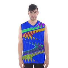 Colorful Wave Blue Abstract Men s Basketball Tank Top