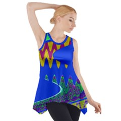 Colorful Wave Blue Abstract Side Drop Tank Tunic