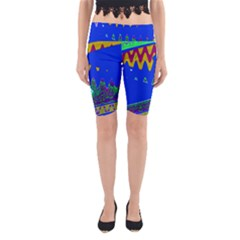 Colorful Wave Blue Abstract Yoga Cropped Leggings