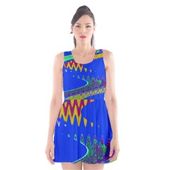 Colorful Wave Blue Abstract Scoop Neck Skater Dress