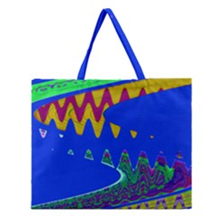 Colorful Wave Blue Abstract Zipper Large Tote Bag
