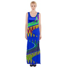 Colorful Wave Blue Abstract Maxi Thigh Split Dress