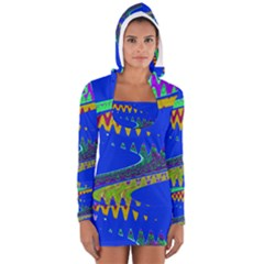 Colorful Wave Blue Abstract Women s Long Sleeve Hooded T-shirt
