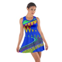 Colorful Wave Blue Abstract Racerback Dresses