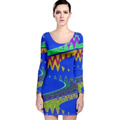 Colorful Wave Blue Abstract Long Sleeve Velvet Bodycon Dress