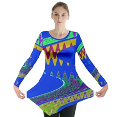 Colorful Wave Blue Abstract Long Sleeve Tunic