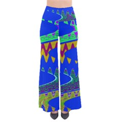 Colorful Wave Blue Abstract Pants