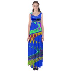 Colorful Wave Blue Abstract Empire Waist Maxi Dress