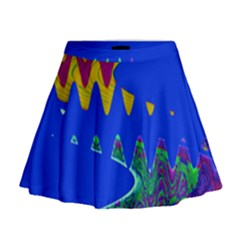 Colorful Wave Blue Abstract Mini Flare Skirt
