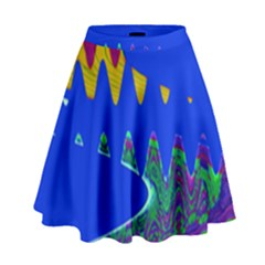 Colorful Wave Blue Abstract High Waist Skirt