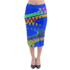 Colorful Wave Blue Abstract Midi Pencil Skirt
