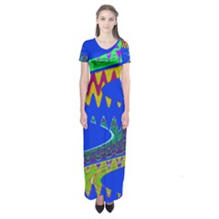 Colorful Wave Blue Abstract Short Sleeve Maxi Dress