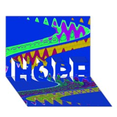 Colorful Wave Blue Abstract HOPE 3D Greeting Card (7x5)