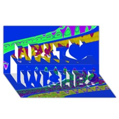 Colorful Wave Blue Abstract Best Wish 3D Greeting Card (8x4)