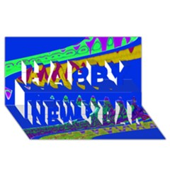 Colorful Wave Blue Abstract Happy New Year 3D Greeting Card (8x4)