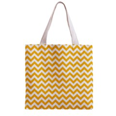 Sunny Yellow & White Zigzag Pattern Zipper Grocery Tote Bag