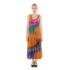 Colorful Wave Orange Abstract Sleeveless Maxi Dress
