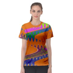 Colorful Wave Orange Abstract Women s Sport Mesh Tee