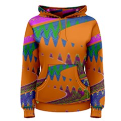 Colorful Wave Orange Abstract Women s Pullover Hoodie