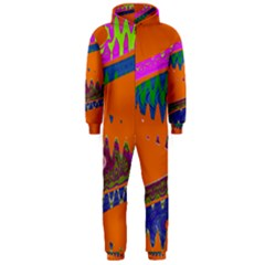 Colorful Wave Orange Abstract Hooded Jumpsuit (Men)