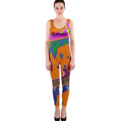 Colorful Wave Orange Abstract OnePiece Catsuit