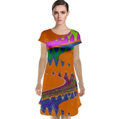 Colorful Wave Orange Abstract Cap Sleeve Nightdress
