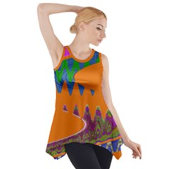 Colorful Wave Orange Abstract Side Drop Tank Tunic