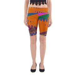 Colorful Wave Orange Abstract Yoga Cropped Leggings
