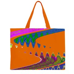 Colorful Wave Orange Abstract Large Tote Bag