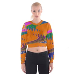 Colorful Wave Orange Abstract Women s Cropped Sweatshirt