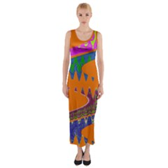 Colorful Wave Orange Abstract Fitted Maxi Dress