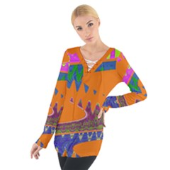 Colorful Wave Orange Abstract Women s Tie Up Tee