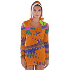Colorful Wave Orange Abstract Women s Long Sleeve Hooded T Shirt