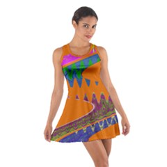 Colorful Wave Orange Abstract Racerback Dresses