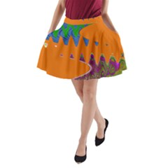 Colorful Wave Orange Abstract A-Line Pocket Skirt