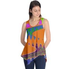 Colorful Wave Orange Abstract Sleeveless Tunic