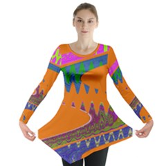 Colorful Wave Orange Abstract Long Sleeve Tunic