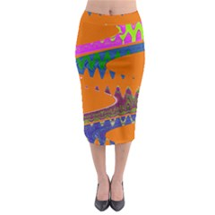 Colorful Wave Orange Abstract Midi Pencil Skirt