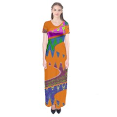 Colorful Wave Orange Abstract Short Sleeve Maxi Dress
