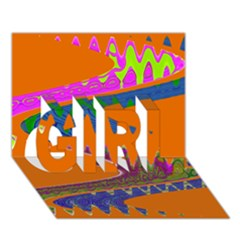 Colorful Wave Orange Abstract GIRL 3D Greeting Card (7x5)