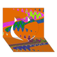 Colorful Wave Orange Abstract Heart 3D Greeting Card (7x5)