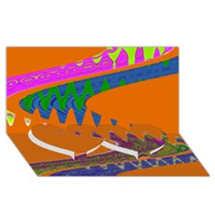 Colorful Wave Orange Abstract Twin Heart Bottom 3D Greeting Card (8x4)