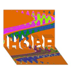 Colorful Wave Orange Abstract Hope 3d Greeting Card (7x5)