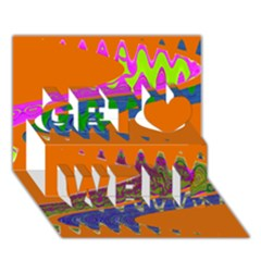 Colorful Wave Orange Abstract Get Well 3D Greeting Card (7x5)